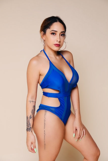 Hang Tight Mesh One Piece - Blue-Swimsuit-Honey Honey Shop