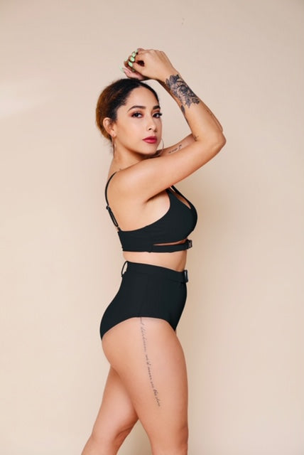 Belted Two Piece- Black-Swimsuit-Honey Honey Shop