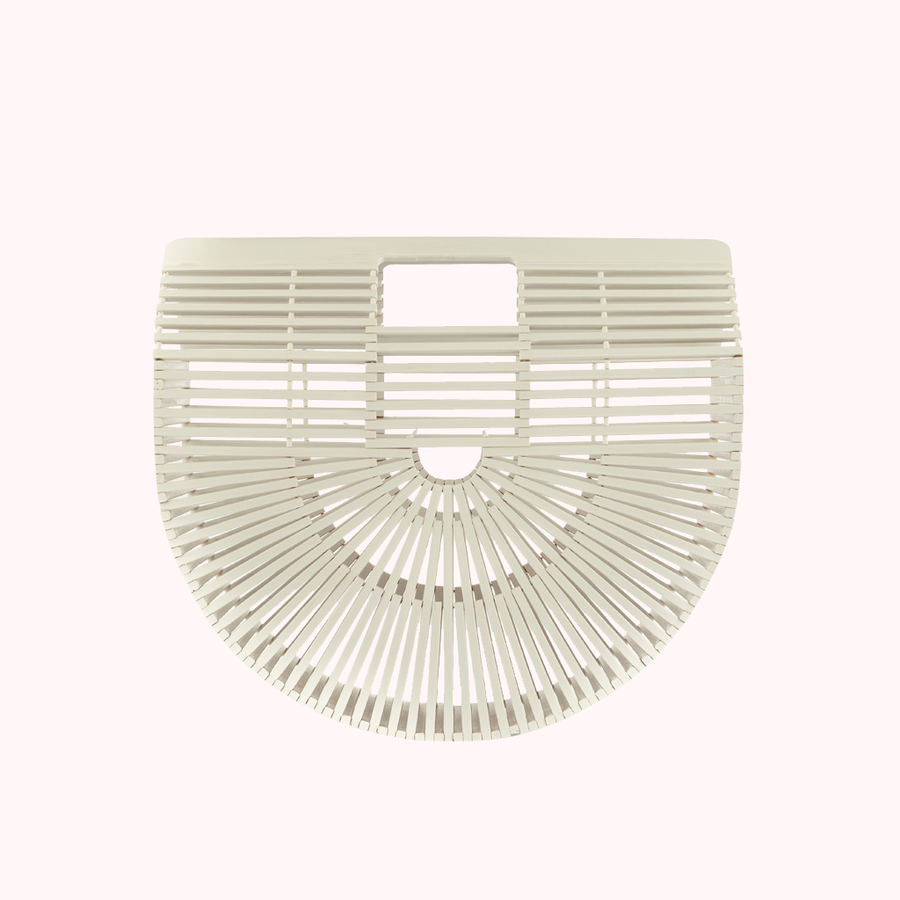 Bamboo White Clutch-CLUTCHES-Honey Honey Shop