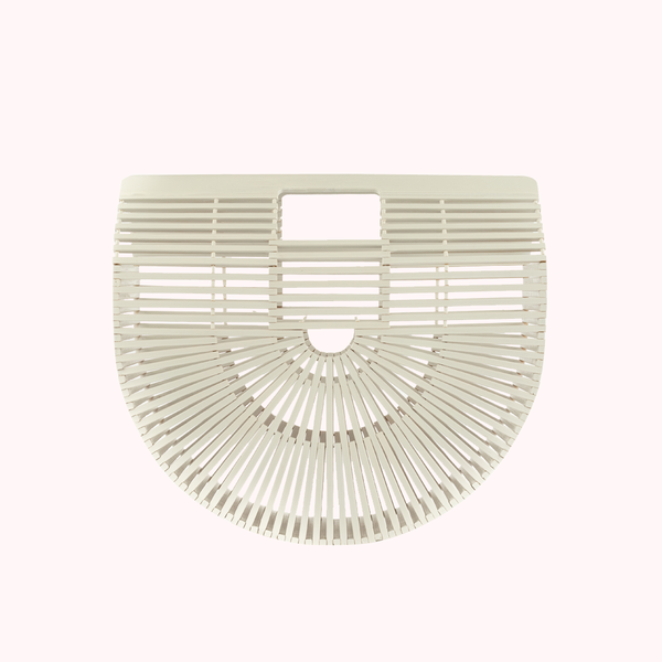Bamboo White Clutch-SMALL-CLUTCHES-Honey Honey Shop
