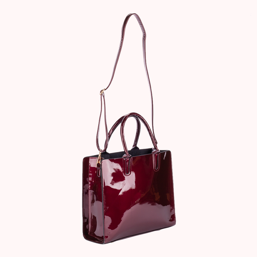 Corona Patent Wine Tote-TOTE-Honey Honey Shop