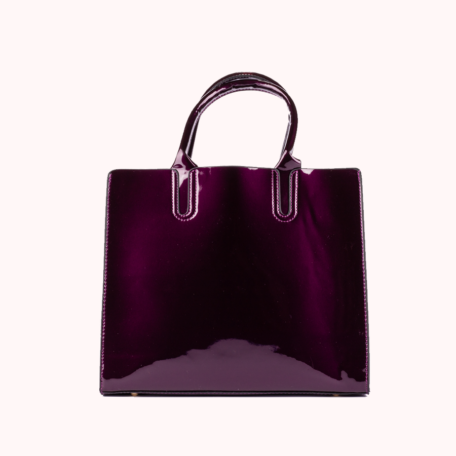 Corona Patent Purple Tote-TOTE-Honey Honey Shop