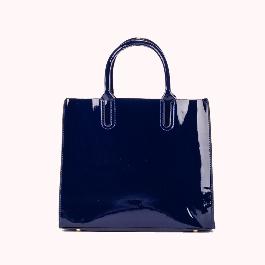 Corona Patent Blue Tote-TOTE-Honey Honey Shop