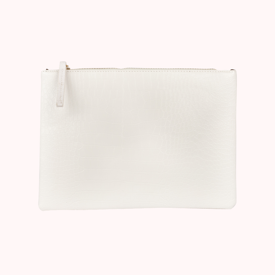 Essentials Only White Clutch-CLUTCHES-Honey Honey Shop