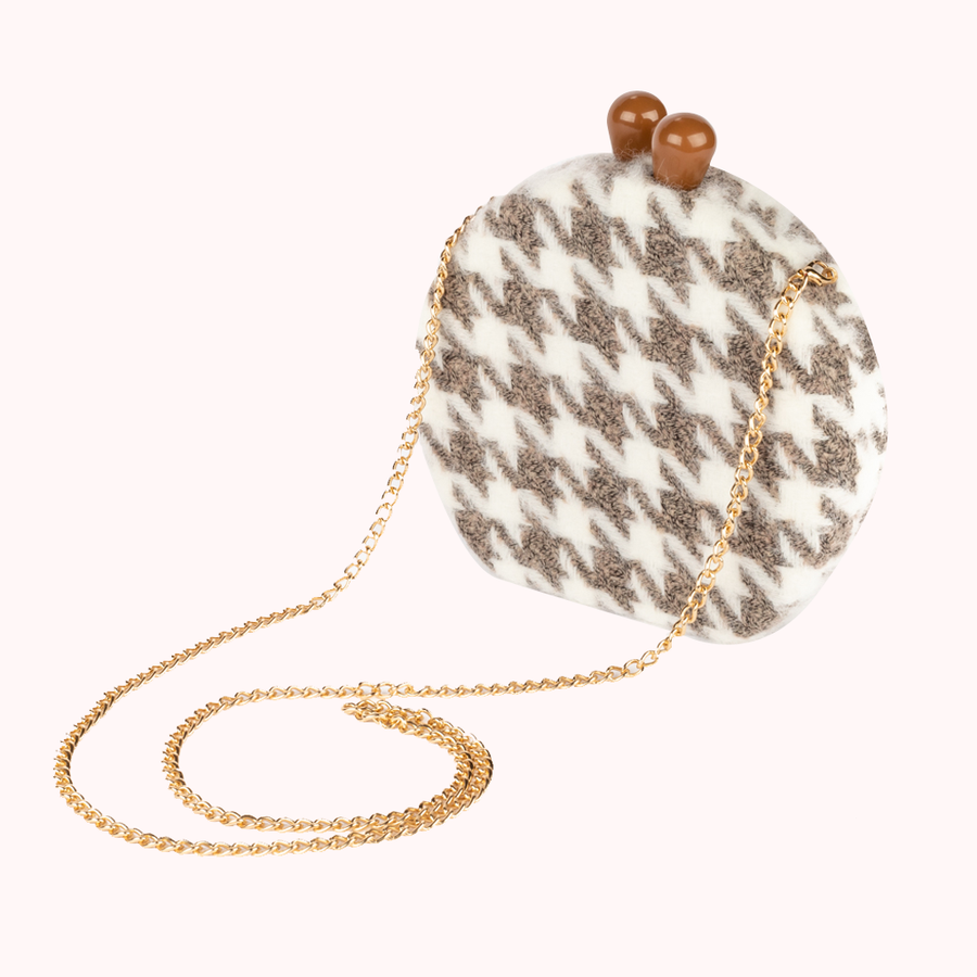 Houndstooth Fairy Brown Hard Bag-HARD BAGS-Honey Honey Shop