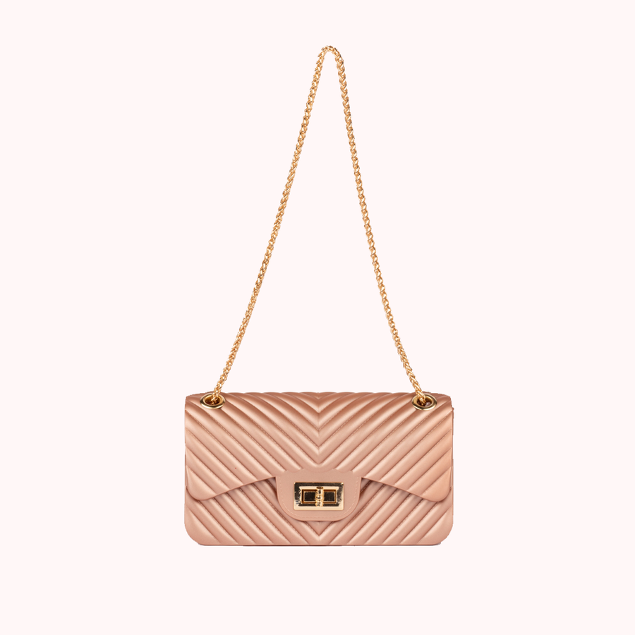Night Fall Chevron Blush Handbag-HANDBAGS-Honey Honey Shop
