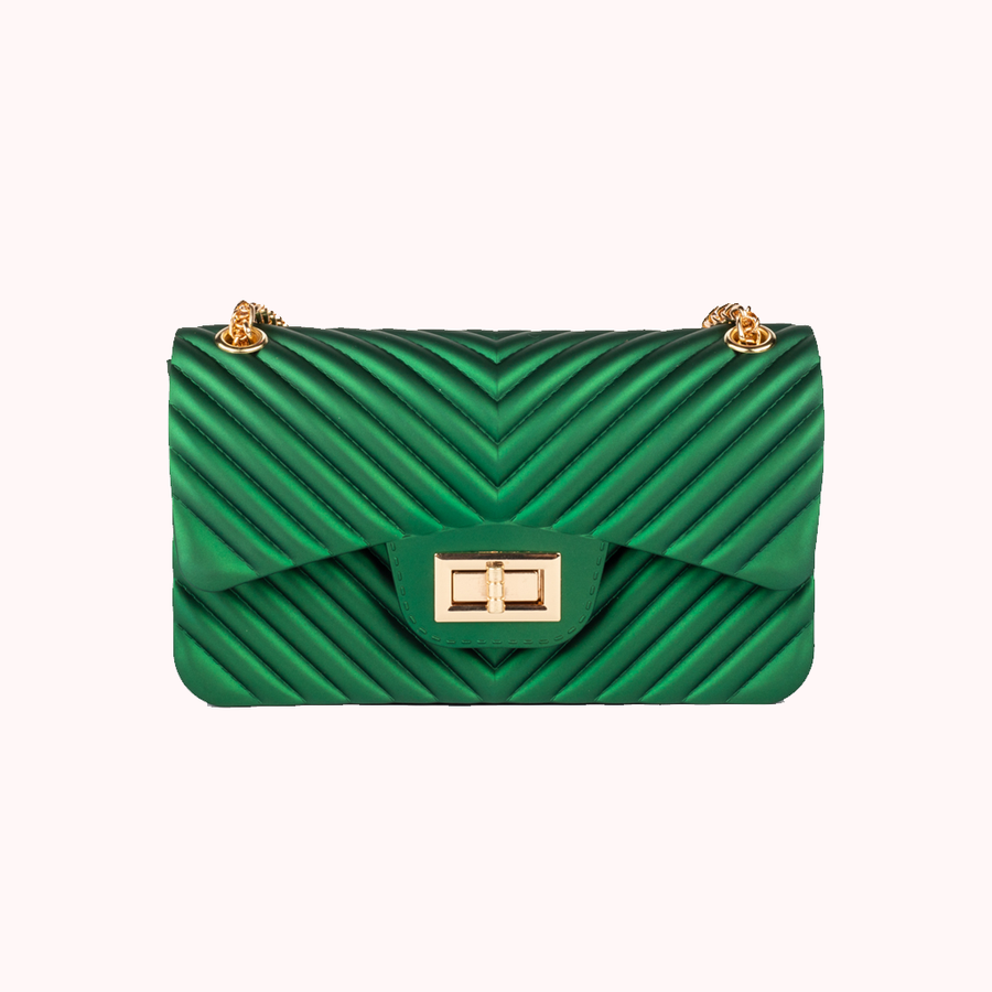 Night Fall Chevron Green Handbag-HANDBAGS-Honey Honey Shop