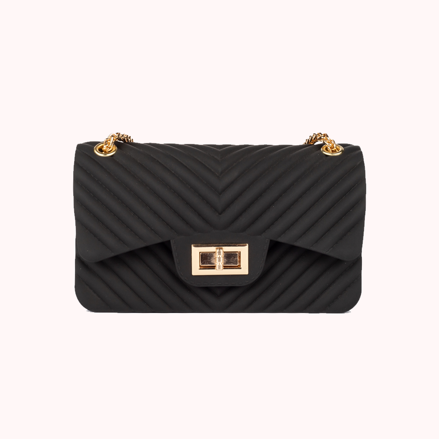 Night Fall Chevron Black Handbag-HANDBAGS-Honey Honey Shop
