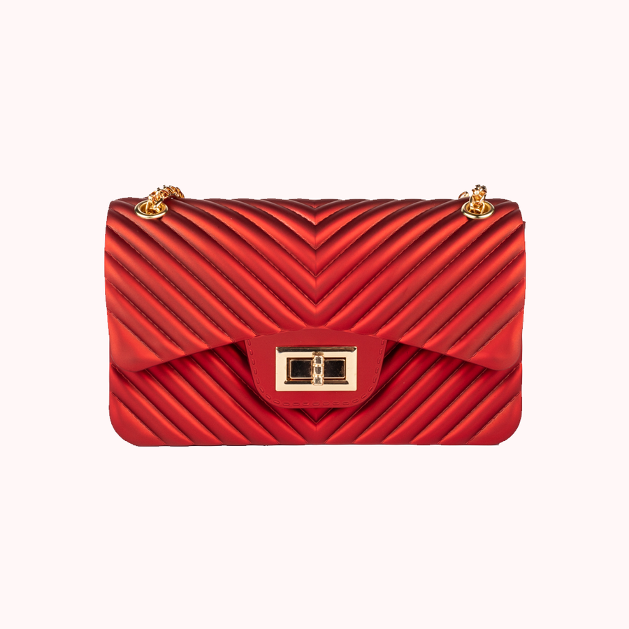Night Fall Chevron Red Handbag-HANDBAGS-Honey Honey Shop