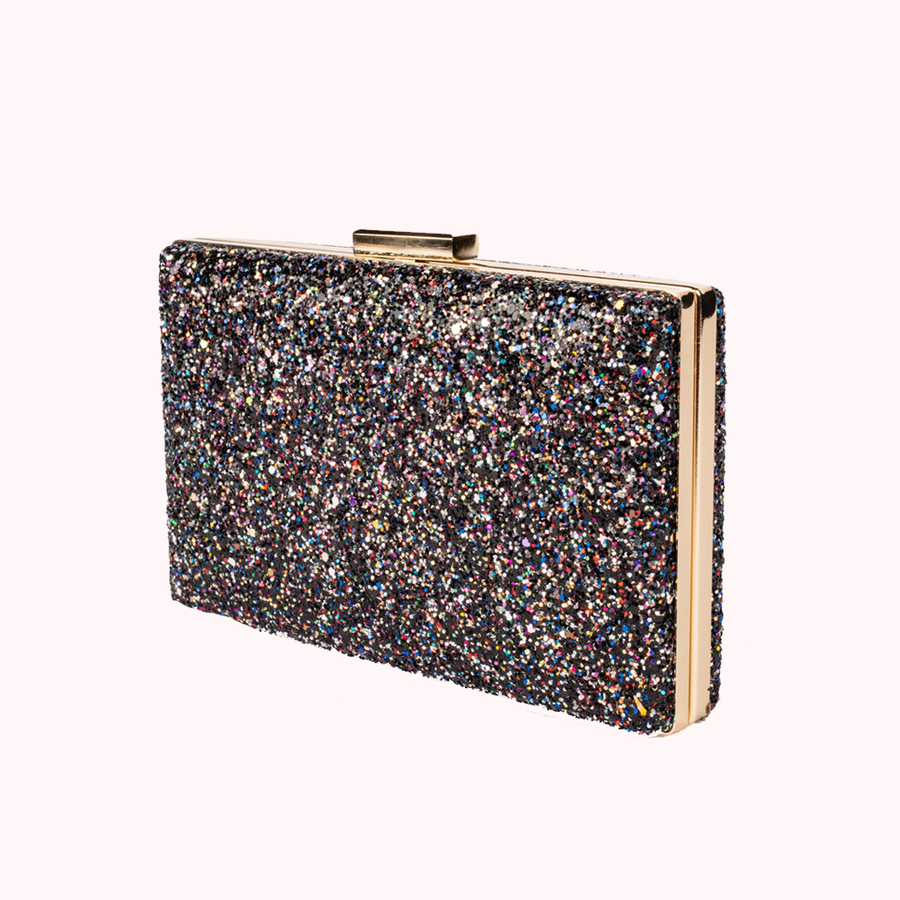 Sparkler Black Glitter Clutch-CLUTCHES-Honey Honey Shop