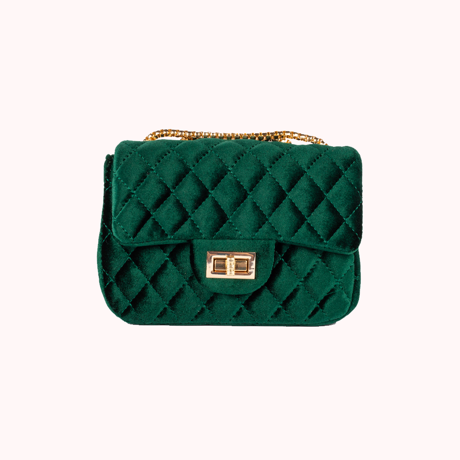 Velvet Dream Green Small Handbag-HANDBAGS-Honey Honey Shop