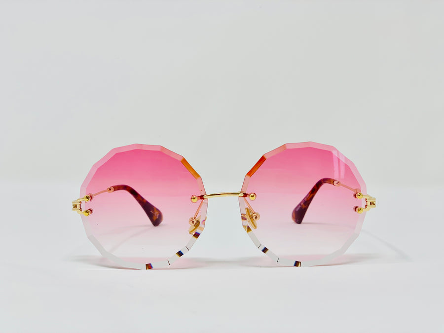 Ombre Rimless sunglasses -Pink-Sunglasses-Honey Honey Shop