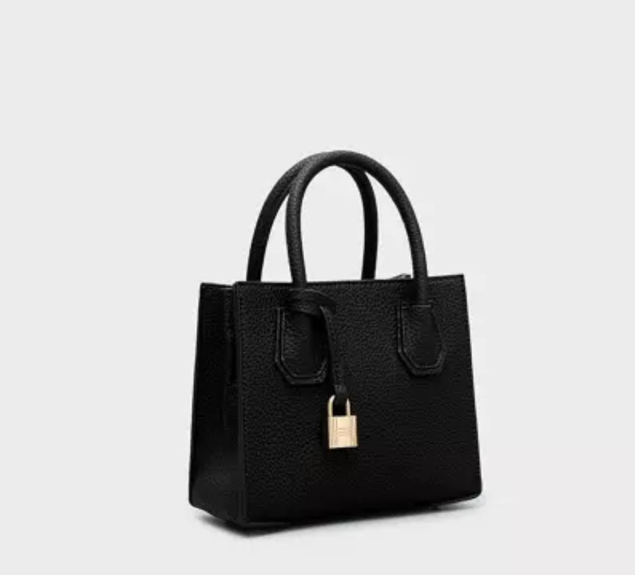 Pebbled Leather Tote- Mini Black