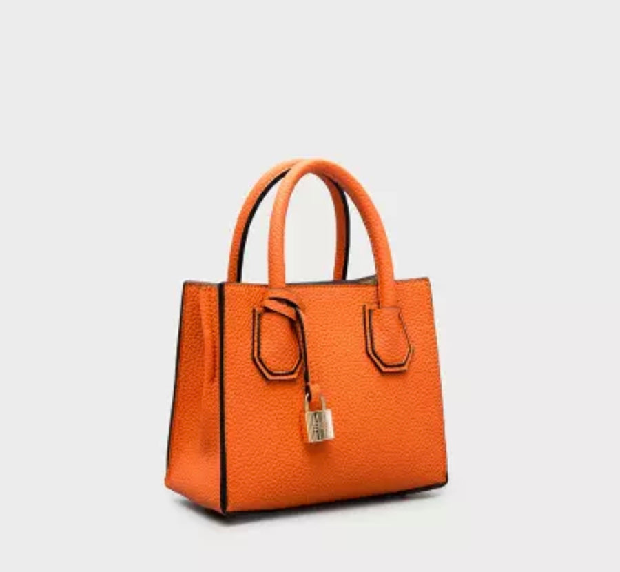 Pebbled Leather Tote- Mini Orange