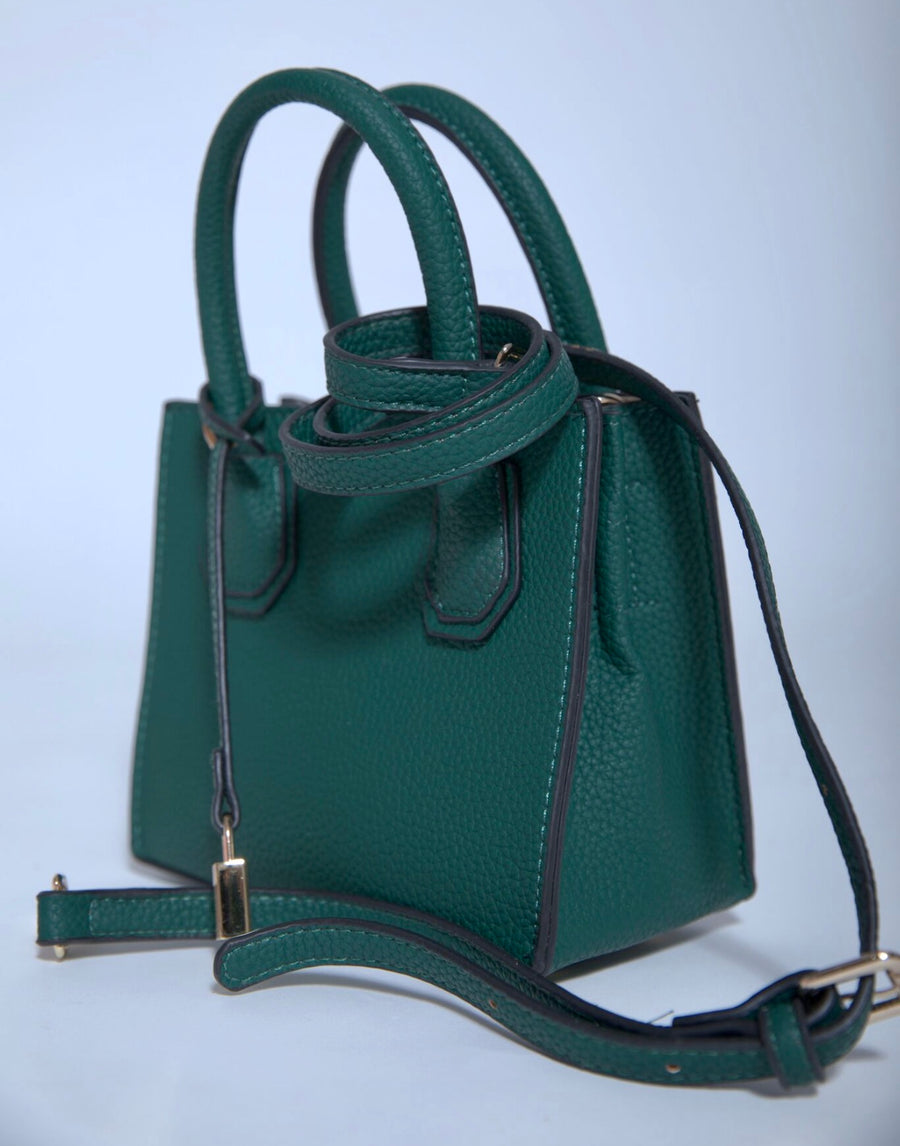 Pebbled Leather Tote- Mini Dark Green