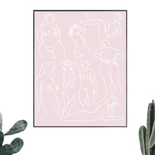Load image into Gallery viewer, The Pink And Red - Women Are Art Line Drawing Print