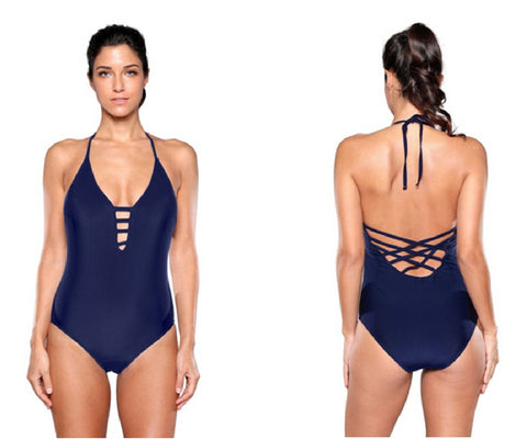 Navy Strappy Plunge Swimsuit | Lookbook Store