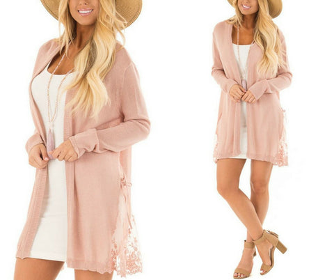Blush Pink Long Sleeves Crochet Lace Open-Front Cardigan