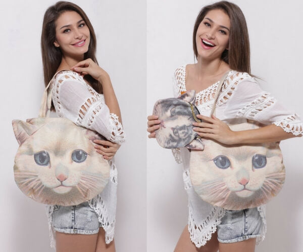 3D Cat Shoulder Bag + Purse