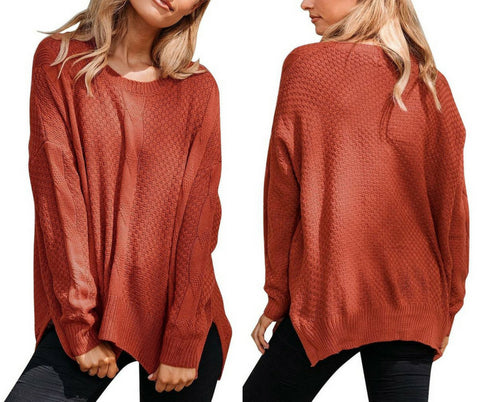 Rust Red Ribbed Knit Textured Side-Slit Sweater