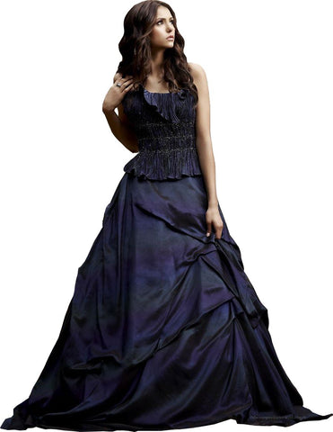 Elena Gilbert in a purple blue gown