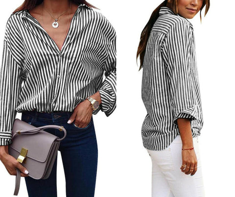 Black Vertical Striped Long Sleeves Button-Up Top