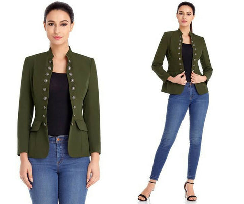Army Green Stand Collar Open-Front Blazer