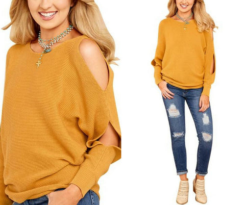 Mustard Yellow Cutout Slit Loose Sweater