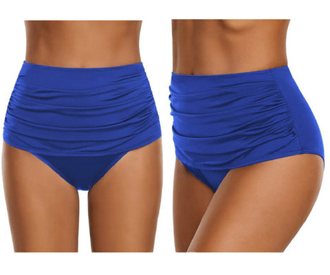 Royal Blue High-Waist Ruched Swim Bottom | Lookbook Store