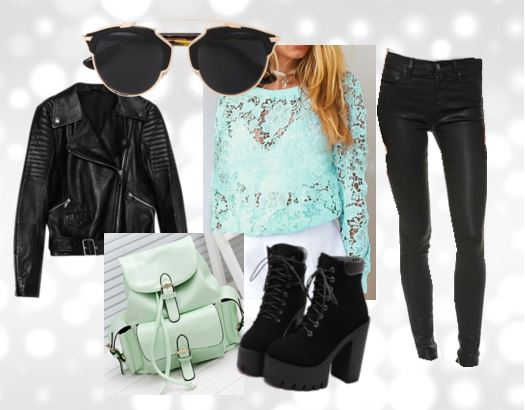 all-black set with mint lace  top and mint green backpack