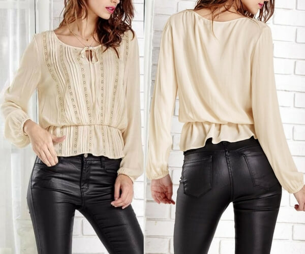 Apricot Long Sleeve Peasant Blouse