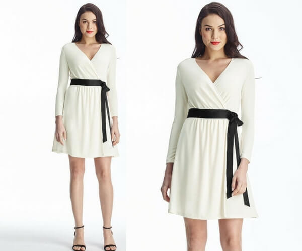 Apricot Plunge Wrap-Style Belted Dress