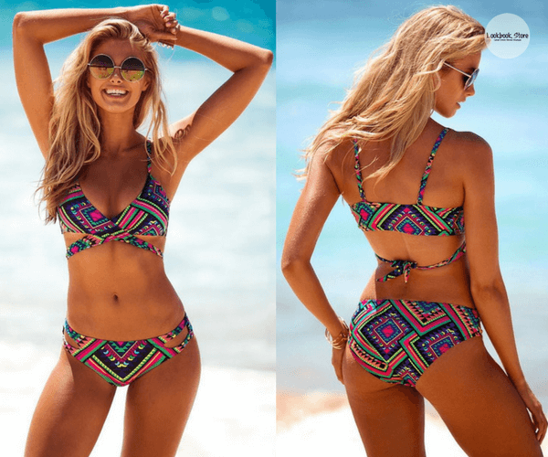 Aztec-Print Crossover Bikini Set | Lookbook Store