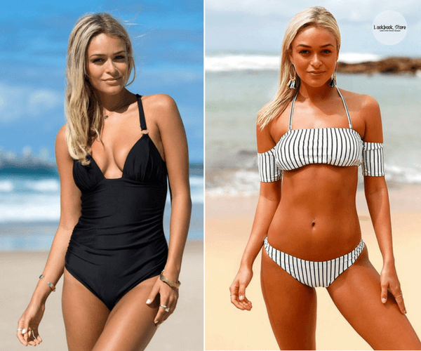 Back Cross Swimsuit - Black and Black and White Striped Off-Shoulder Bikini Set | Lookbook Store