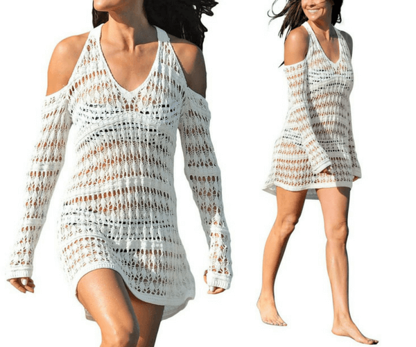 Beige Cold-Shoulder Crochet Beach Dress | Lookbook Store