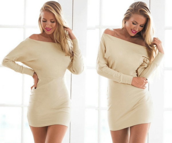 Beige One-Shoulder Dress | Lookbook Store