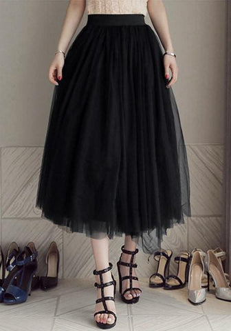 Black A-Line Tulle Skirt