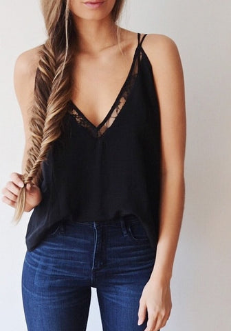 Black Plunge Strappy Cami