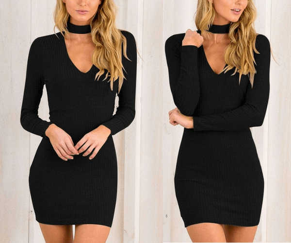 Black Choker-Neck Ribbed Bodycon Dress | Lookbook Store