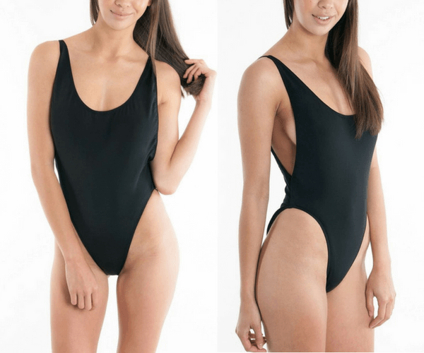 Black Classic Low-Back Swimsuit | Lookbook Store