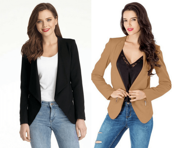 Black Draped Blazer and Champagne Draped Blazer | Lookbook Store