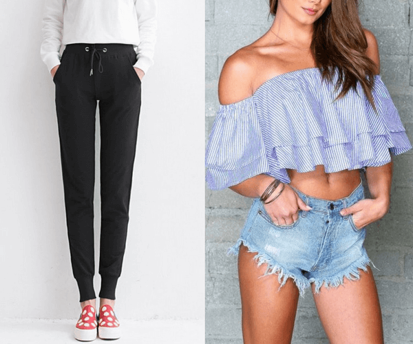 Black Drawstring Joggers and Blue Striped Layered Off-Shoulder Crop Top | Lookbook Store