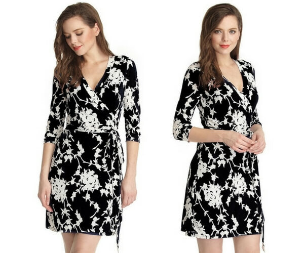 Black Floral Plunge Wrap Dress
