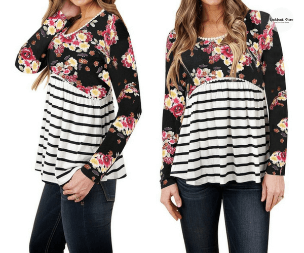Black Floral Striped Empire-Cut Top | Lookbook Store