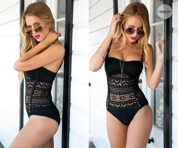 Black Lace Halter Swimsuit - Lookbook Store