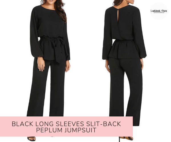 Black Long Sleeves Slit-Back Peplum Jumpsuit - Lookbook Store