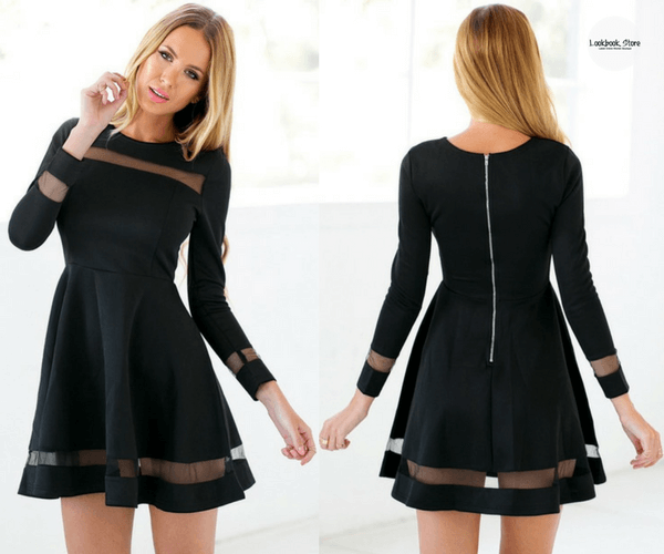 Black Mesh Panel Skater Dress | Lookbook Store