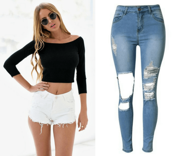 Black Off Shoulder Crop Top and Blue Distressed High-Waist Skinny Jeans | Lookbook Store