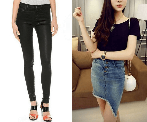 Black PU Leather Skinny Pants and Frayed Denim Asymmetric Pencil Skirt | Lookbook Store
