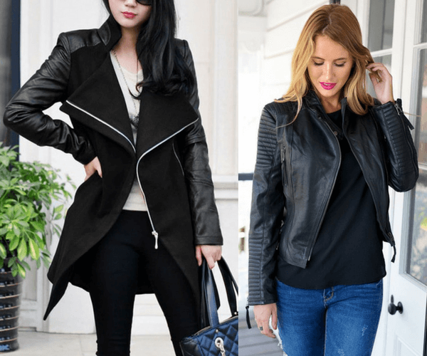 Black PU Sleeve Coat and Genuine Sheepskin Blazer| Lookbook Store